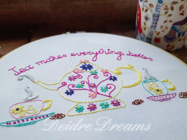 Close up photo of Tea makes everything better finished embroidery