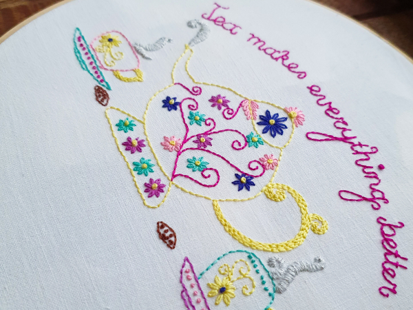 Side view photo of Tea makes everything better finished embroidery