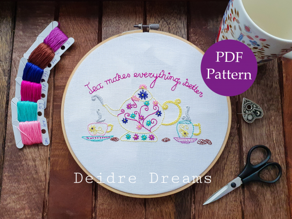 Photo of Tea makes everything better finished embroidery