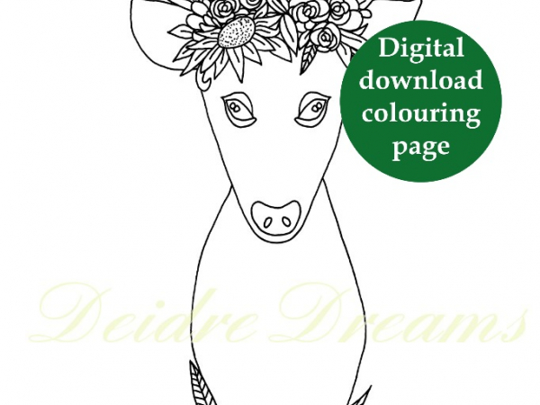 Deer with flower crown colouring page with sticker and watermark