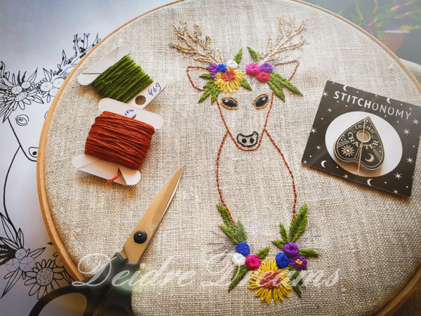 Photo of Crowned deer embroidery shown in progress