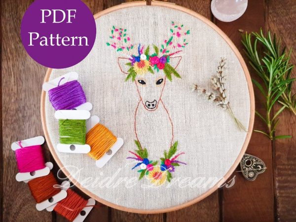 Photo of Crowned deer finished embroidery with PDF pattern sticker
