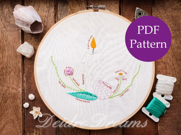Four Elements stitch practice embroidery in DMC floss