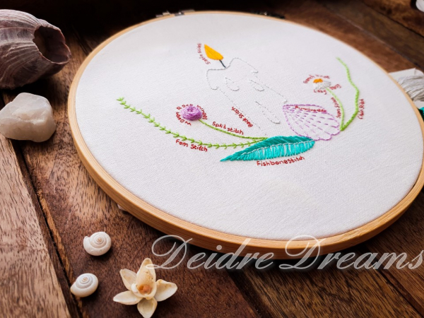 Side view of Four elements stitch practice embroidery in DMC floss