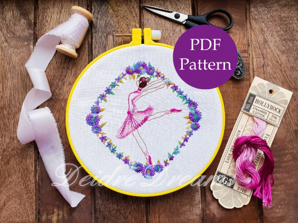 Photo of ballerina finished embroidery with PDF pattern sticker