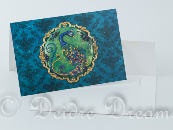 Greeting card shown with white envelope
