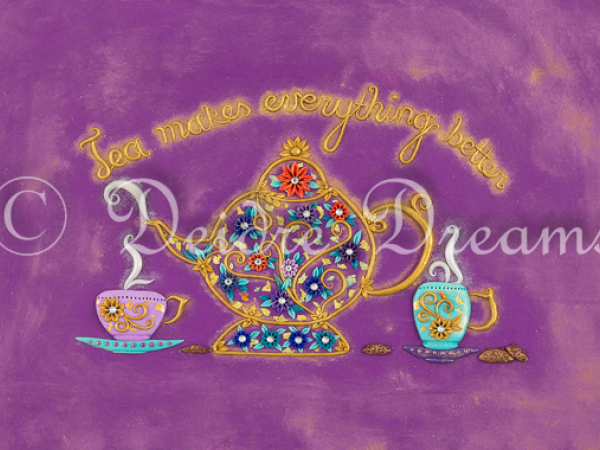 Tea makes everything better greeting card design