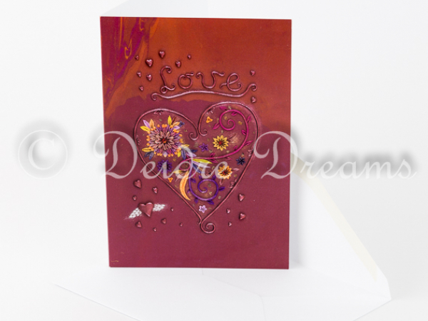 Love Heart Valentine Greeting Card with Envelope