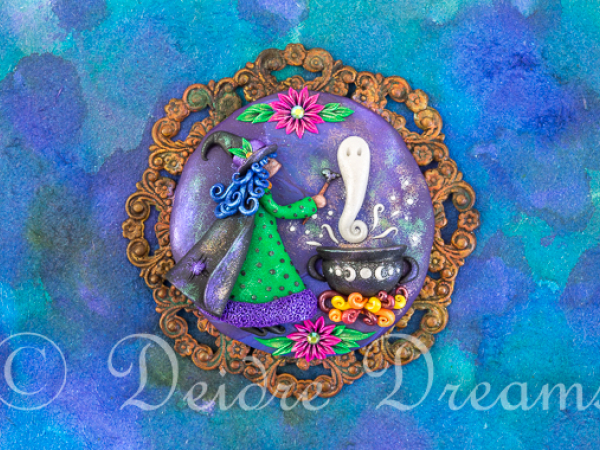 Witch with Cauldron Greeting Card Print Design
