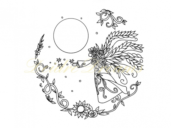 Angel colouring page with watermark