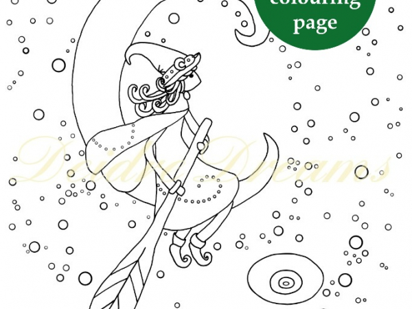 Witch in crescent moon colouring page with sticker and watermark
