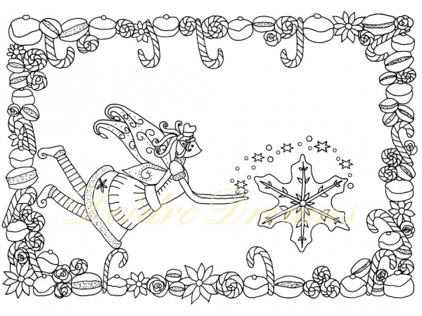 Baker fairy colouring page with watermark