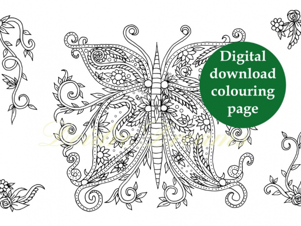 Zentangle butterfly colouring page with sticker and watermark