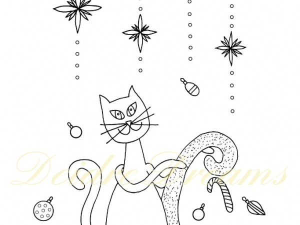 Christmas cat colouring page with watermark