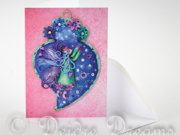Overview of Fairy Greeting Card and White Envelope