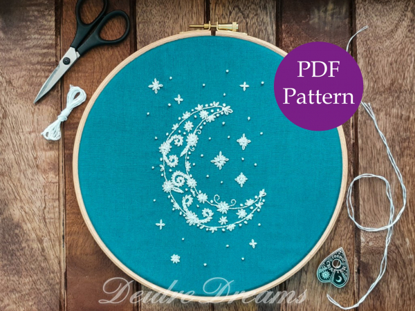 Photo of crescent moon finished embroidery