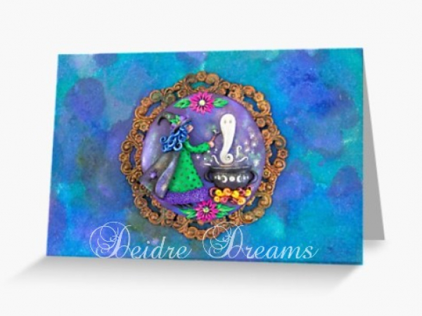 Witch with Cauldron Greeting Card