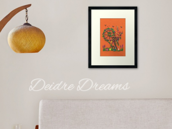 Print Shown Framed on Living Room Wall for Example
