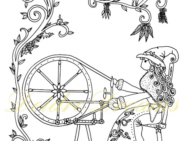 Witch at spinning wheel colouring page with watermark