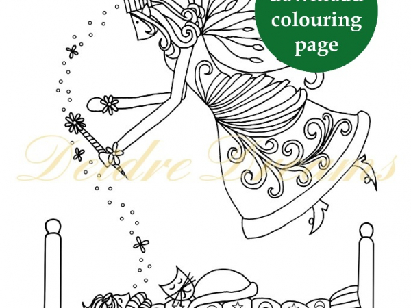 Fairy Godmother colouring page with sticker and watermark