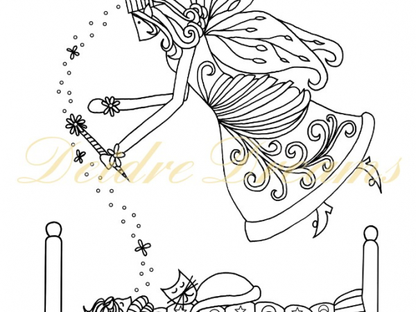 Fairy Godmother colouring page with watermark