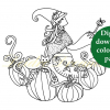 Witch in pumpkin patch colouring page with sticker and watermark
