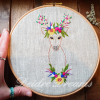 Photo of Crowned deer finished embroidery held in one hand