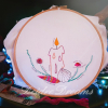 Four Elements stitch practice embroidery in CGT floss