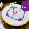 Side view photo of ballerina finished embroidery with PDF pattern sticker