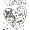 Love heart colouring page with watermark