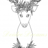Deer with flower crown colouring page with watermark