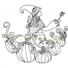 Witch in pumpkin patch colouring page with watermark