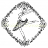 Ballerina colouring page with watermark