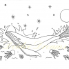 Whale colouring page with watermark