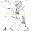Jack o Lantern colouring page with watermark