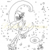 Witch in crescent moon colouring page with watermark