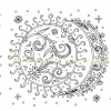 Sun and moon colouring page with watermark