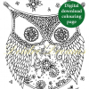 Ornamental owl colouring page with sticker and watermark