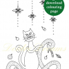 Christmas cat colouring page with sticker and watermark