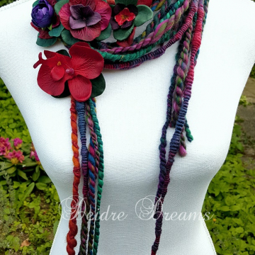 Long Art Yarn Scarf Shown Wrapped Tightly Around Neck