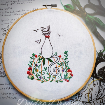 Photo of Halloween cat finished embroidery