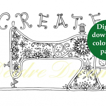 Create sewing machine colouring page with sticker and watermark