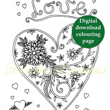 Love heart colouring page with sticker and watermark