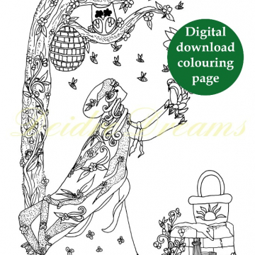Goddess Brigid colouring page with sticker and watermark