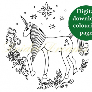 Unicorn colouring page with sticker and watermark