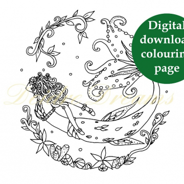Mermaid colouring page with sticker and watermark
