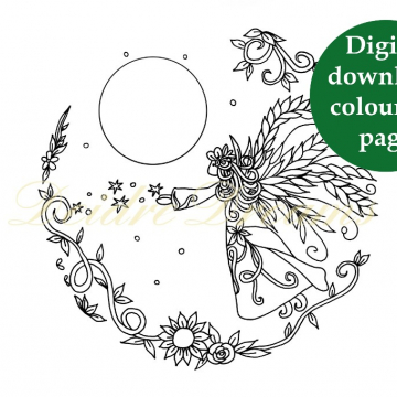 Angel colouring page with sticker and watermark