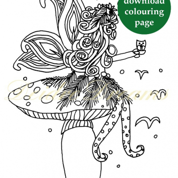 Fairy on toadstool colouring page with sticker and watermark