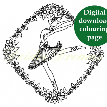 Ballerina colouring page with sticker and watermark