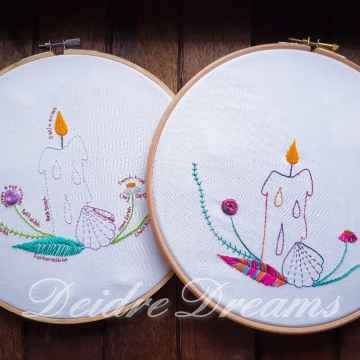 Four Elements stitch practice embroideries in DMC and CGT floss